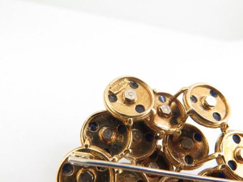 18K Yellow Gold Lapis Lazuli & Diamond Cluster Brooch Italian made Val $7420
