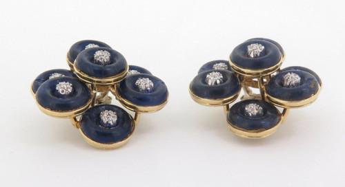 Vintage Pair Of Lapis Lazuli & Diamond Set 18ct Gold Earrings Val $6890