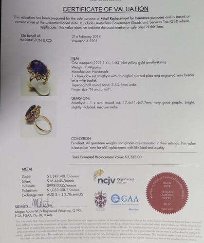 Large Amethyst Handmade 14ct Yellow Gold Ladies Dress Ring Size N 1/2 Val $3335