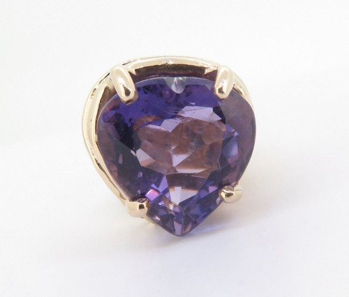 14ct Yellow Gold Large 22ct Heart Cut Amethyst Dress Ring Size Q Val $4340