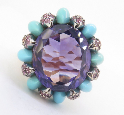 Vintage 14ct Gold Amethyst Turquoise Pink Sapphire Ring Size R1/2 Val $4330