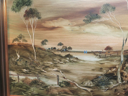 """1977 LUCETTE DALOZZO LARGE OIL ON BOARD. """"EDGE OF THE OUTBACK"""""""