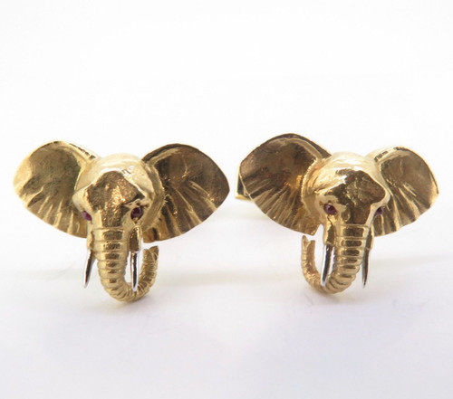 A Fine Pair Of E. Wolfe & Co 18K Gold & Ruby Gentleman's Elephant Cufflinks