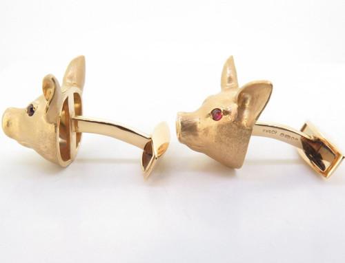 A Fine Pair Of E. Wolfe & Co 18K Gold & Ruby Gentlemens Pig Cufflinks