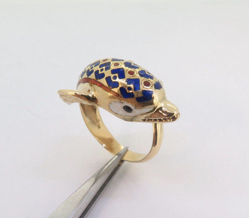 Wonderful Enamel 18k Gold Antique Dolphin Style Ladies Ring Size M