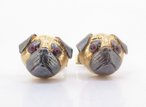 A Fine Pair Of E. Wolfe & Co 18K Gold & Ruby Gentleman's Pug Cufflinks