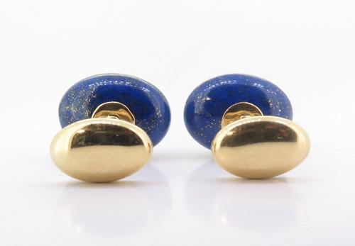 A Fine Pair Of Trianon Lapis & Citrine Set 18K Gold Gentleman's Cufflinks