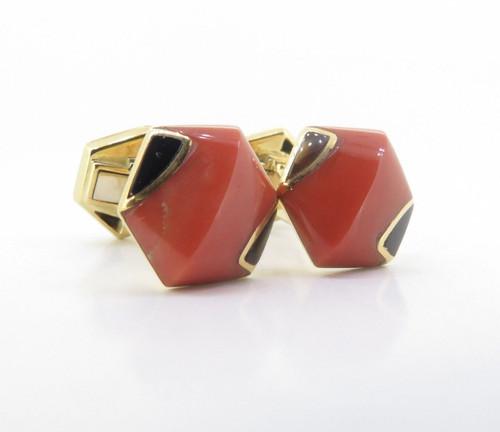 A Fine Pair Of Coral & Onyx Set 18K Gold Gentleman's Cufflinks Signed S.T