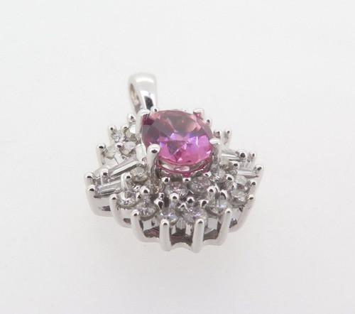 Stunning Pink Tourmaline & Diamond Cluster 14k Gold Pendant Val $4315