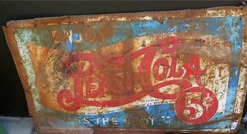 c1930's AMERICAN PEPSI COLA 5C LARGE METAL ADVERTISING SIGN