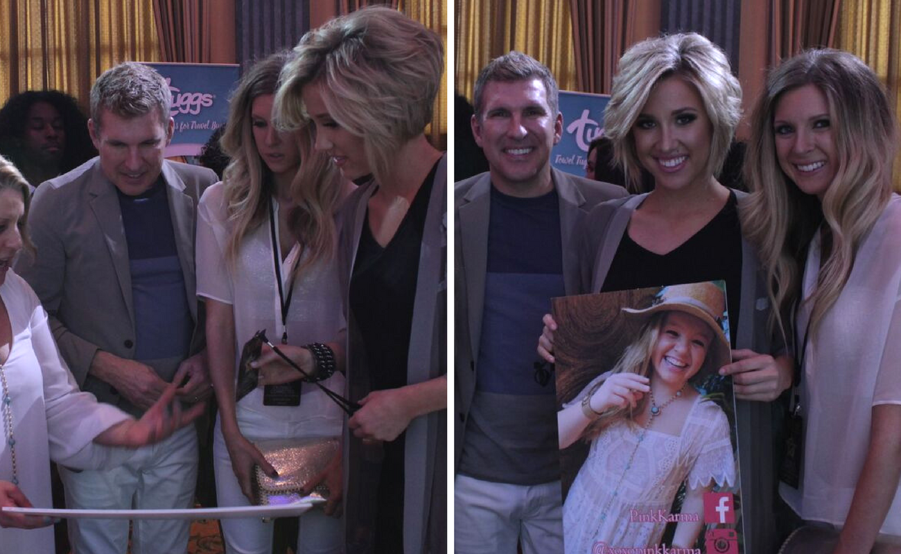 Savannah Chrisley, Todd Chrisley, and Lindsie Chrisley try on pieces from Pink Karma's new jewelry line while also posing for a picture with Pink Karma's social media poster. Pink Karma debuted their new line at Celebrity Connected's Luxury Oscar Gifting Suite in 2016.