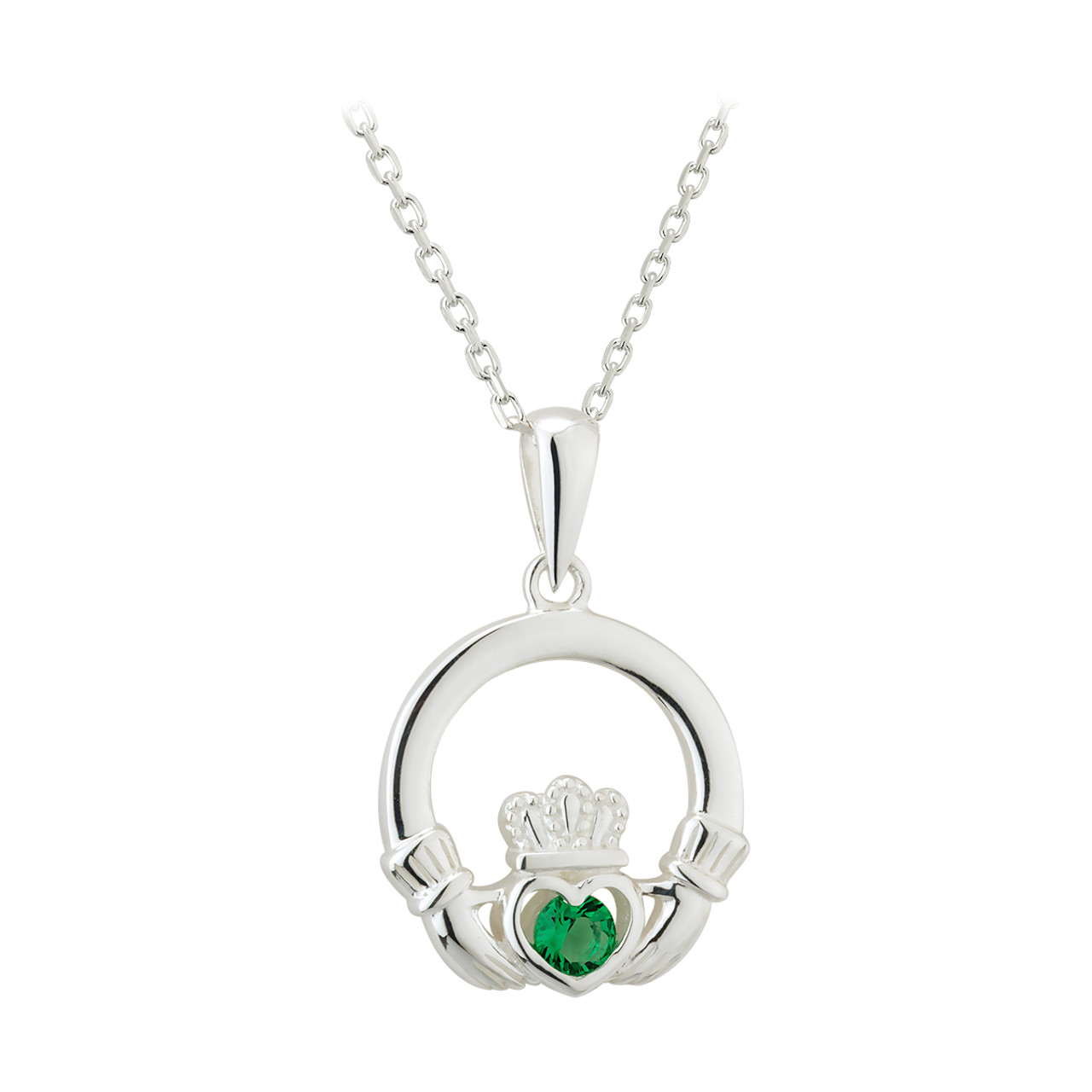 Sterling silver green cz claddagh pendant the twisted shamrock sterling silver green cz claddagh pendant aloadofball Image collections