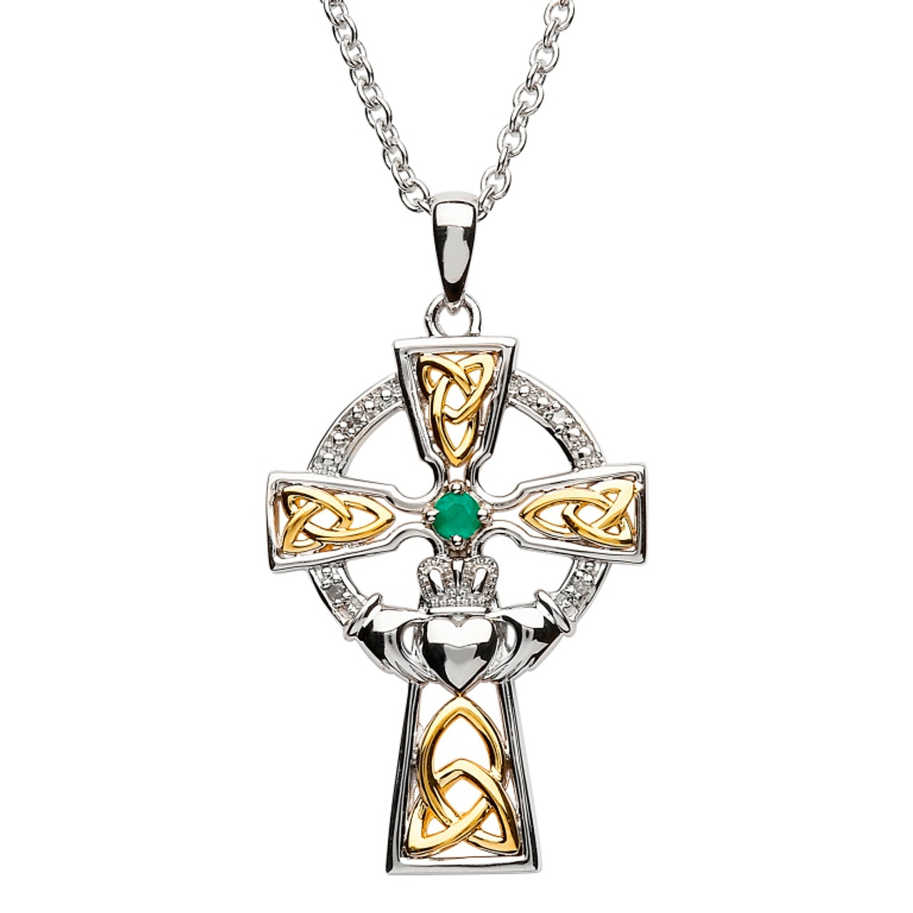 sterling en pendant celtic silver cross