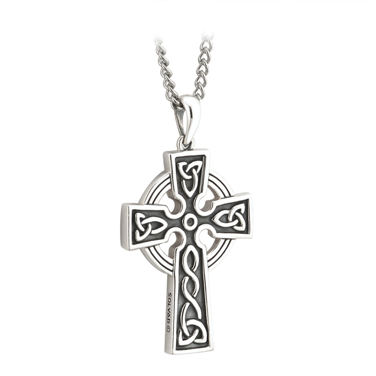 sterling pendant satin silver celtic antiqued irish cross