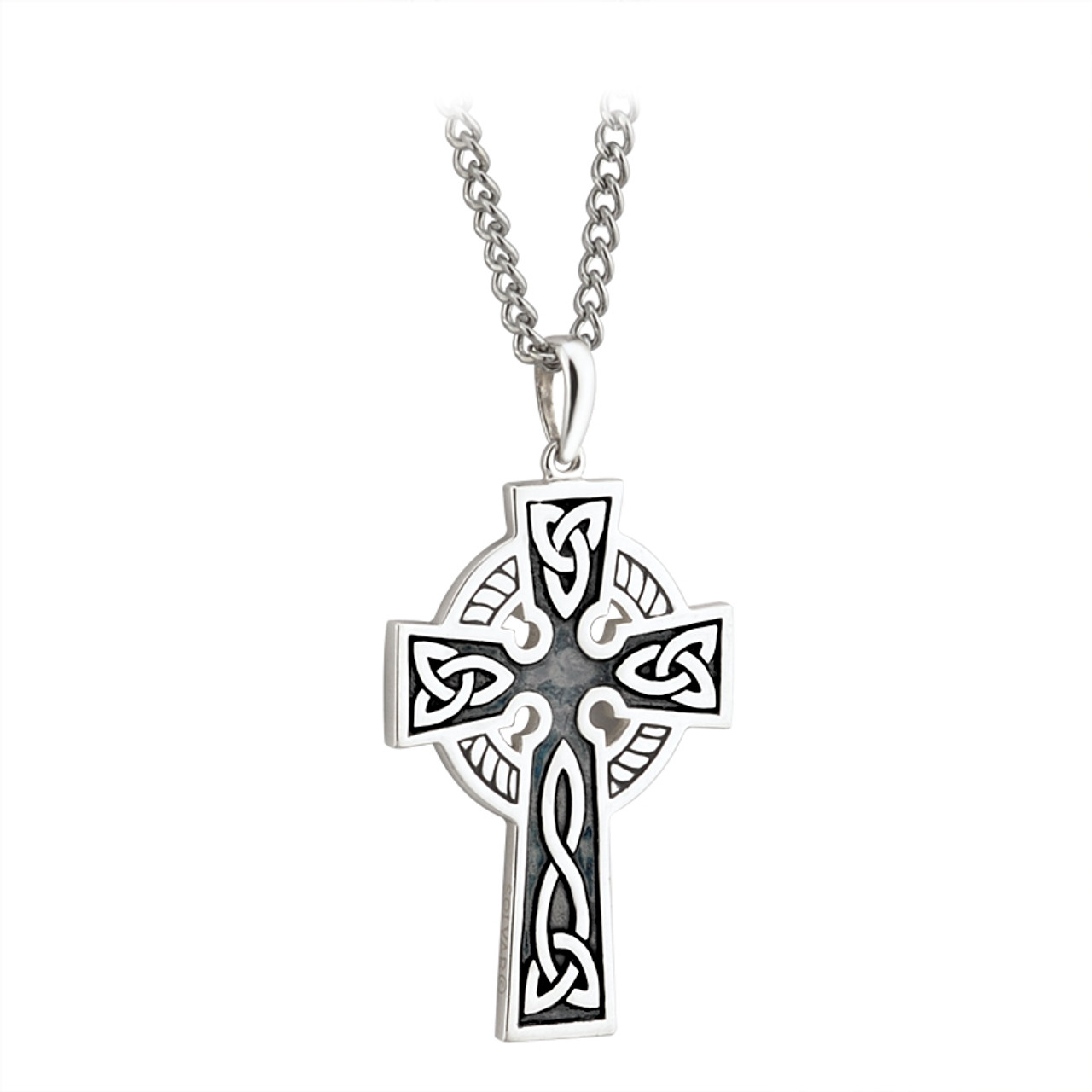 Sterling silver double sided oxidized celtic cross pendant with sterling silver double sided oxidized celtic cross pendant with steel chain aloadofball Images