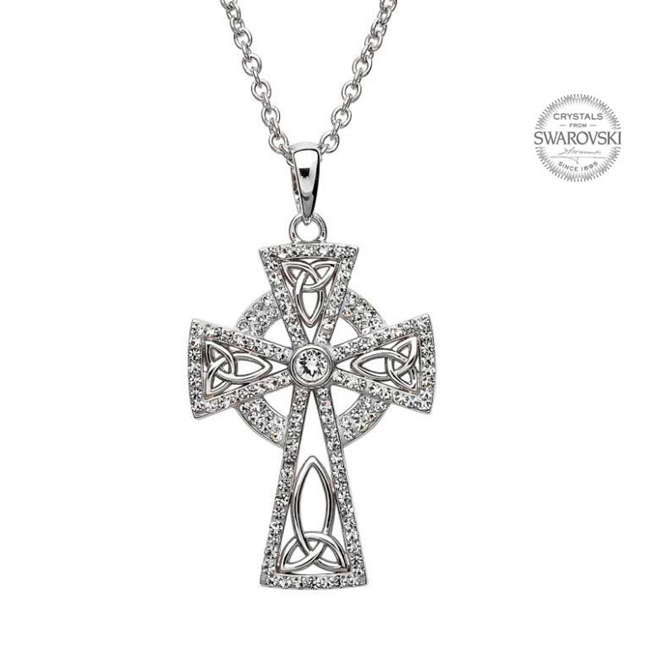 Sterling silver trinity knot celtic cross pendant embellished with sterling silver trinity knot celtic cross pendant embellished with swarovski white crystals aloadofball Choice Image