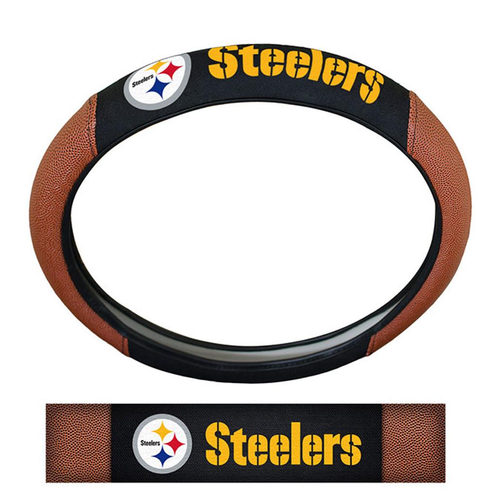 Pittsburgh Steelers Steering Wheel Cover Premium Pigskin Style