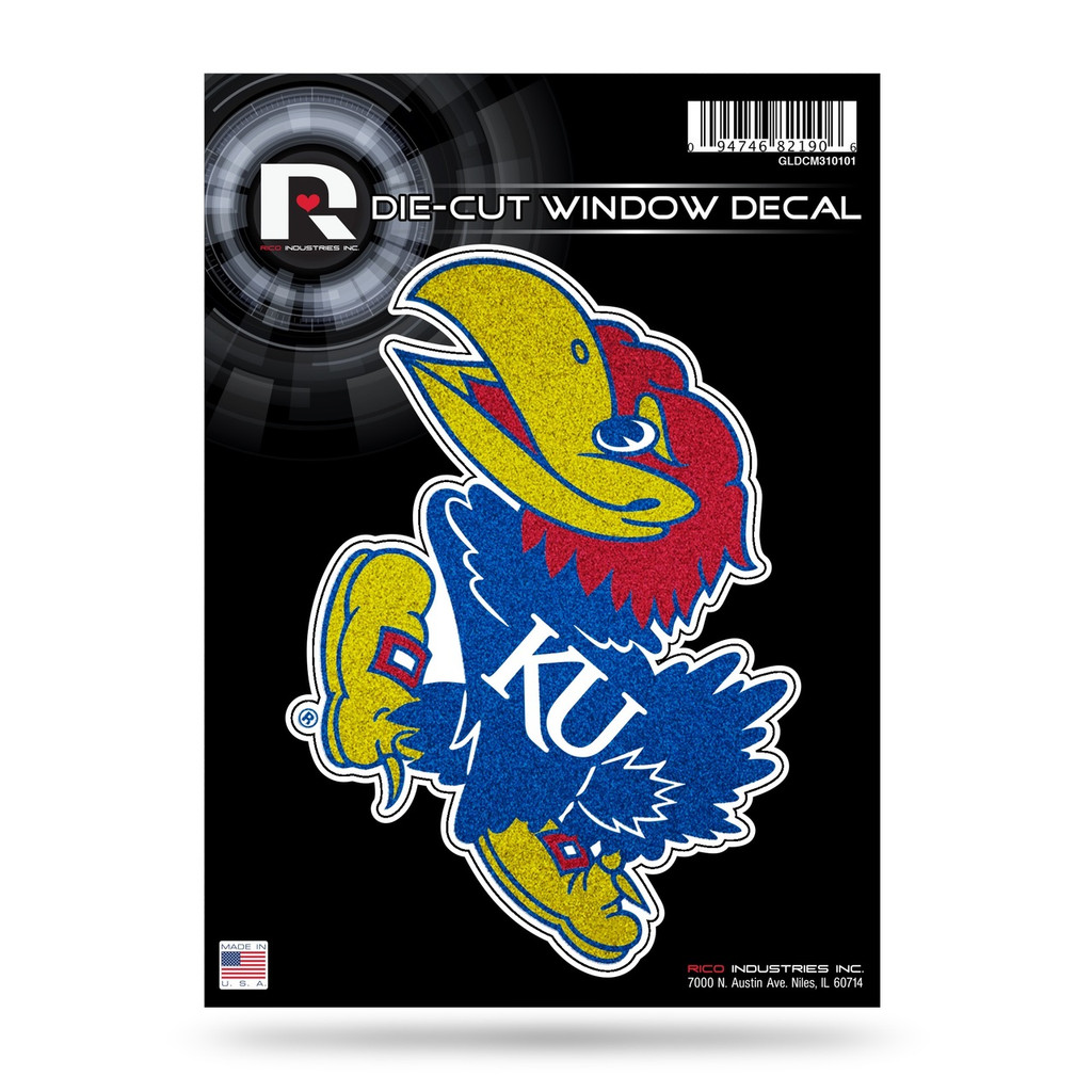 Kansas Jayhawks Decal 5x5 Die Cut Bling
