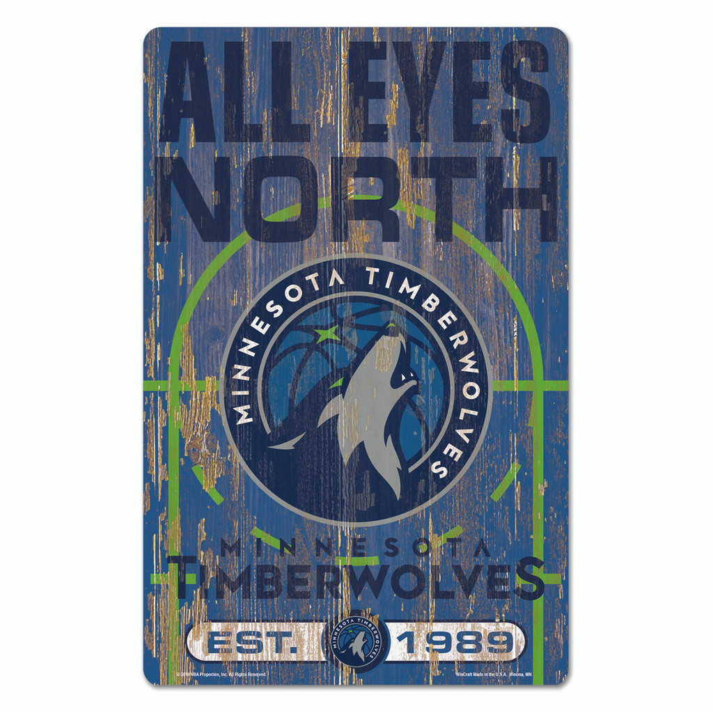 Minnesota Timberwolves Sign 11x17 Wood Slogan Design