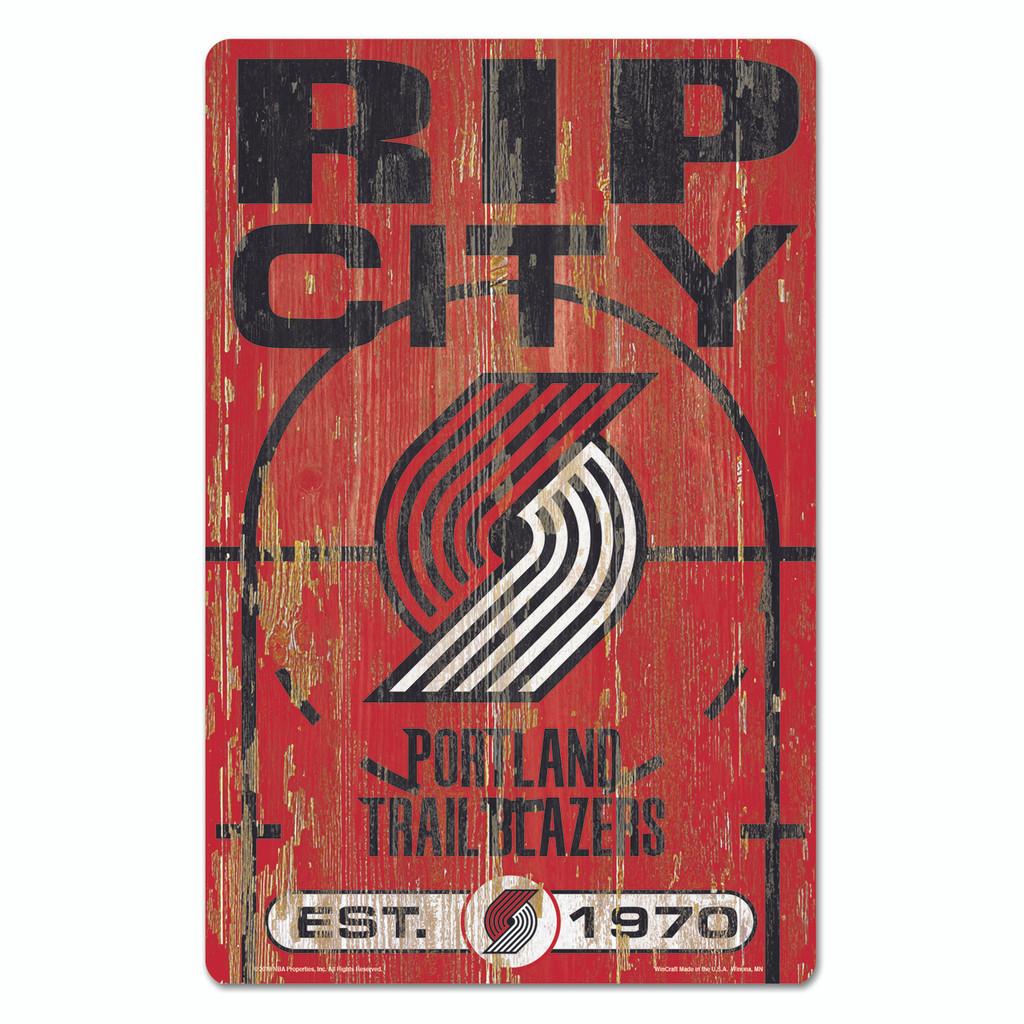 Portland Trail Blazers Sign 11x17 Wood Slogan Design