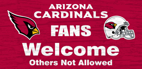 "Arizona Cardinals Wood Sign - Fans Welcome 12""x6"""