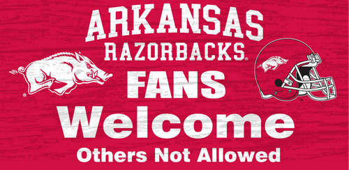 "Arkansas Razorbacks Wood Sign - Fans Welcome 12""x6"""