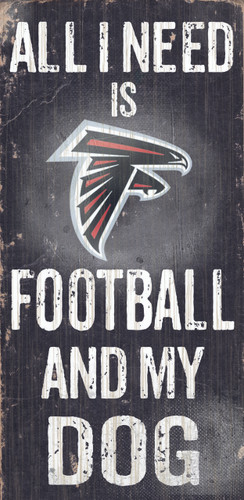 "Atlanta Falcons Wood Sign - Football and Dog 6""x12"""
