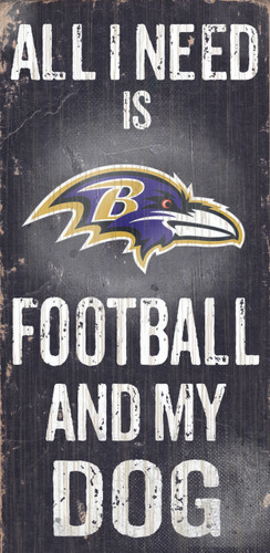 "Baltimore Ravens Wood Sign - Football and Dog 6""x12"""