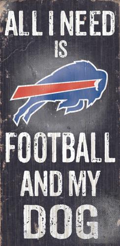 "Buffalo Bills Wood Sign - Football and Dog 6""x12"""