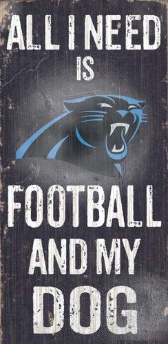 """Carolina Panthers Wood Sign - Football and Dog 6""""x12"""""""