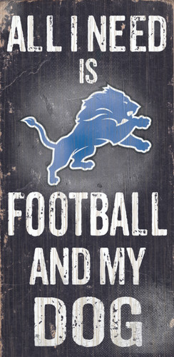 """Detroit Lions Wood Sign - Football and Dog 6""""x12"""""""