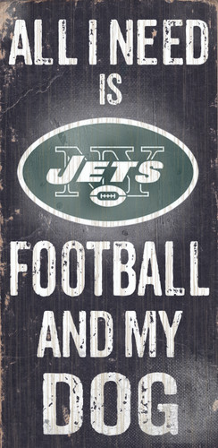 """New York Jets Wood Sign - Football and Dog 6""""x12"""""""