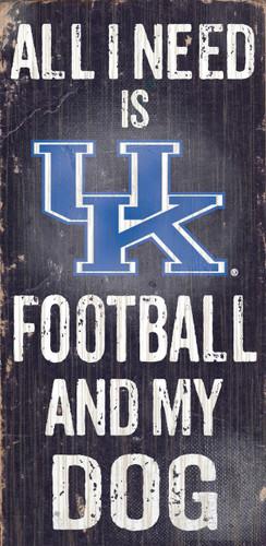"Kentucky Wildcats Wood Sign - Football and Dog 6""x12"""