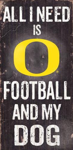"Oregon Ducks Wood Sign - Football and Dog 6""x12"""