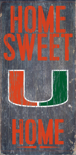 "Miami Hurricanes Wood Sign - Home Sweet Home 6""x12"""