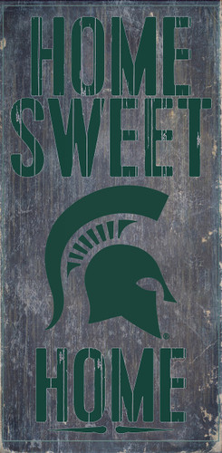 """Michigan State Spartans Wood Sign - Home Sweet Home 6""""x12"""""""