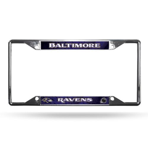 Baltimore Ravens License Plate Frame Chrome EZ View