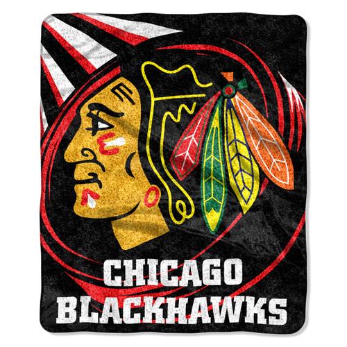 Chicago Blackhawks Blanket 50x60 Sherpa Puck Design
