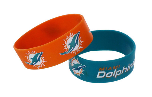 Miami Dolphins Bracelets - 2 Pack Wide