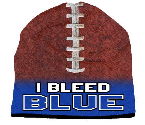 Beanie I Bleed Style Sublimated Football Royal Blue Design
