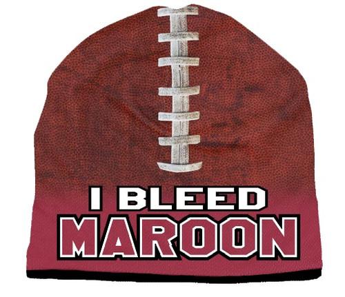 I Bleed Beanie - Sublimated Football - Maroon