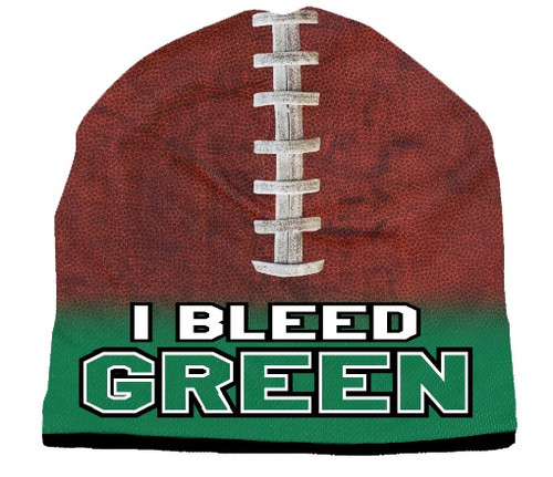 Beanie I Bleed Style Sublimated Football Kelly Green Design