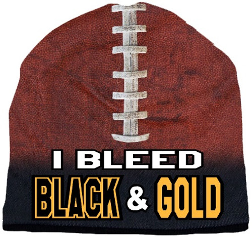 I Bleed Beanie - Sublimated Football - Black and Gold