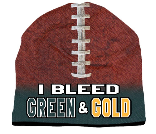 I Bleed Beanie - Sublimated Football - Forest Green and Gold