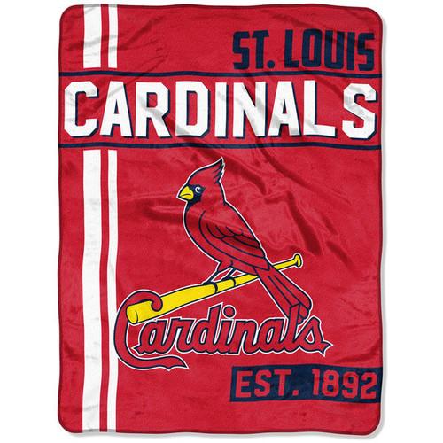 St. Louis Cardinals Blanket 46x60 Raschel Triple Play Design