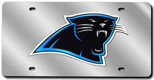 Carolina Panthers Laser Cut Silver License Plate