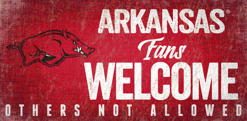 Arkansas Razorbacks Wood Sign Fans Welcome 12x6
