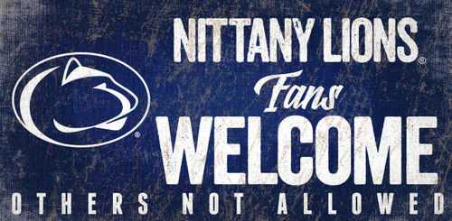 Penn State Nittany Lions Wood Sign Fans Welcome 12x6