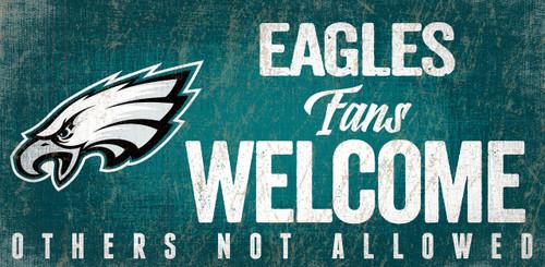 Philadelphia Eagles Wood Sign Fans Welcome 12x6
