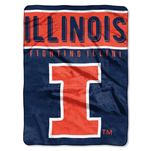 Illinois Fighting Illini Blanket 60x80 Raschel Basic Design Special Order